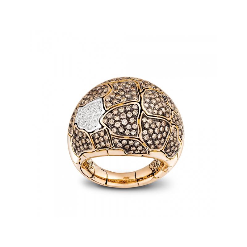 Anello bombato medio in oro rosa e diamanti
