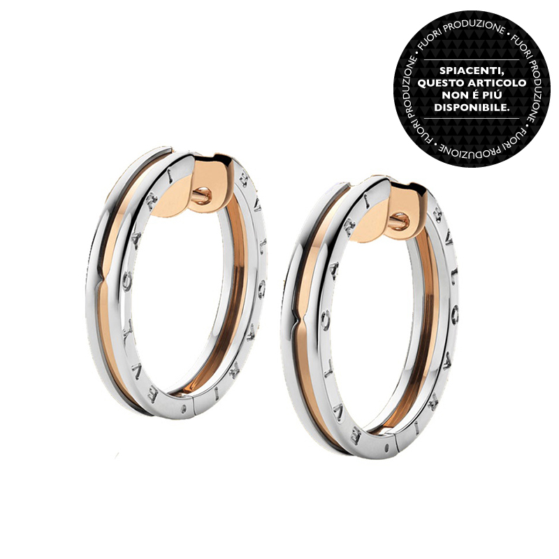 Hoop Earrings in Pink Gold and Steel