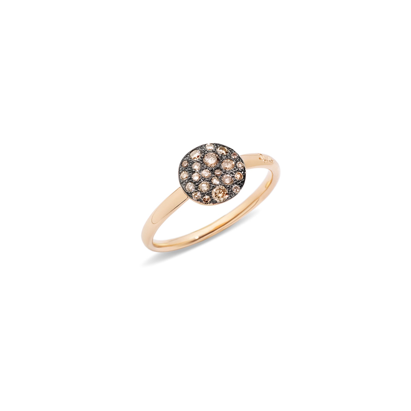 Anello in oro rosa brunito e brillanti brown