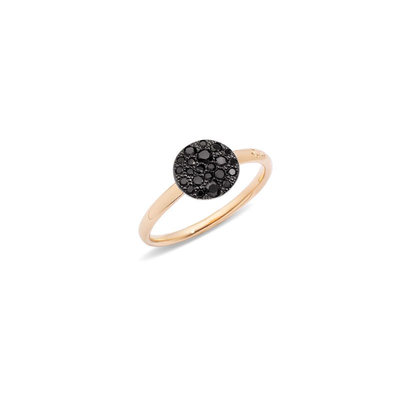 Anello in oro rosa brunito con brillanti black
