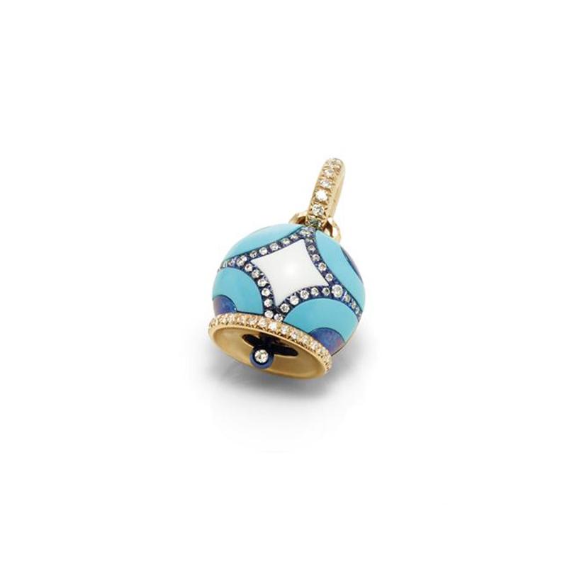 Ciondolo campanella piccola Maiolica oro rosa turchese kogolong e diamanti