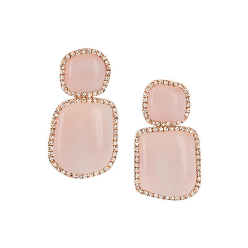 Orecchini pendenti corti in oro  rosa, corallo rosa e diamanti