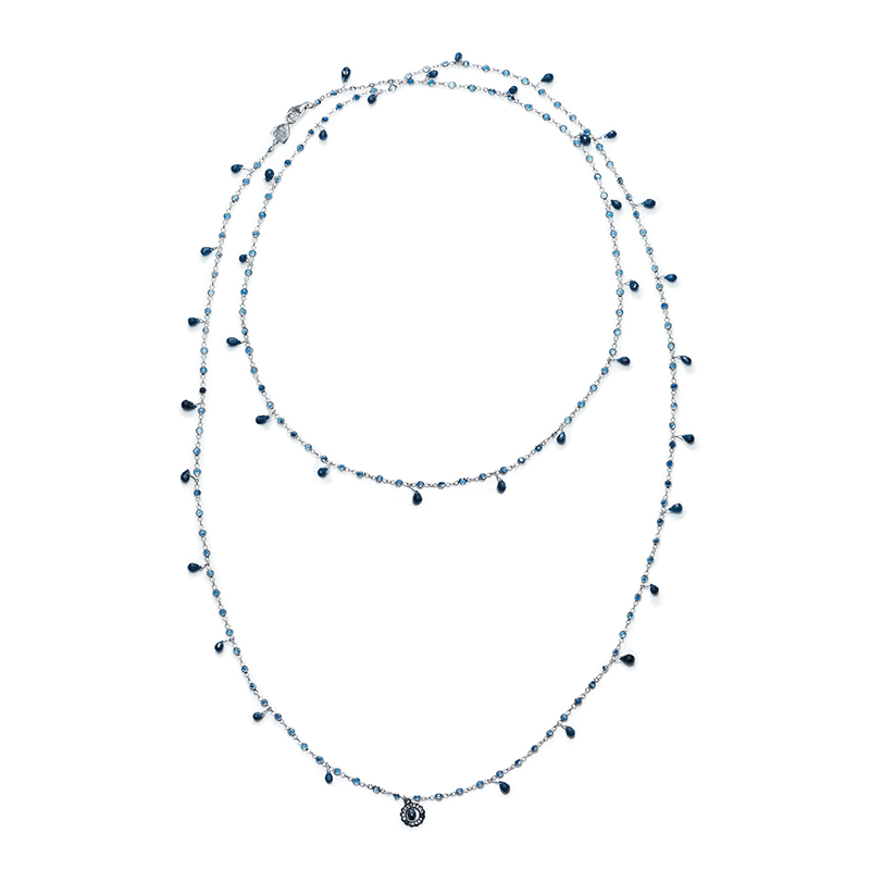 Necklace in white gold with blue sapphires