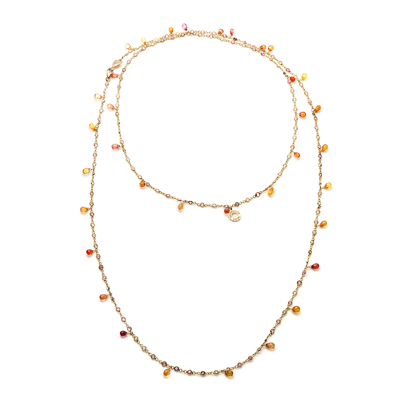 Necklace in white gold with orange sapphires