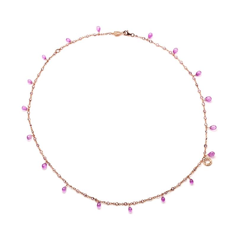 Collana in oro rosa e zaffiri rosa