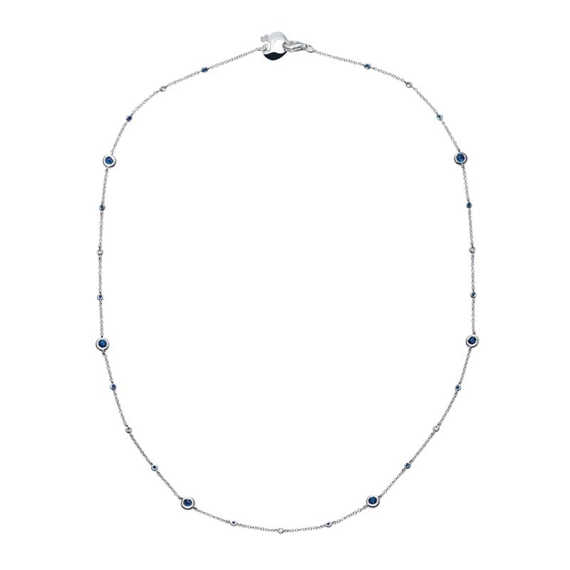 Collana in oro bianco, diamanti e zaffiri blu
