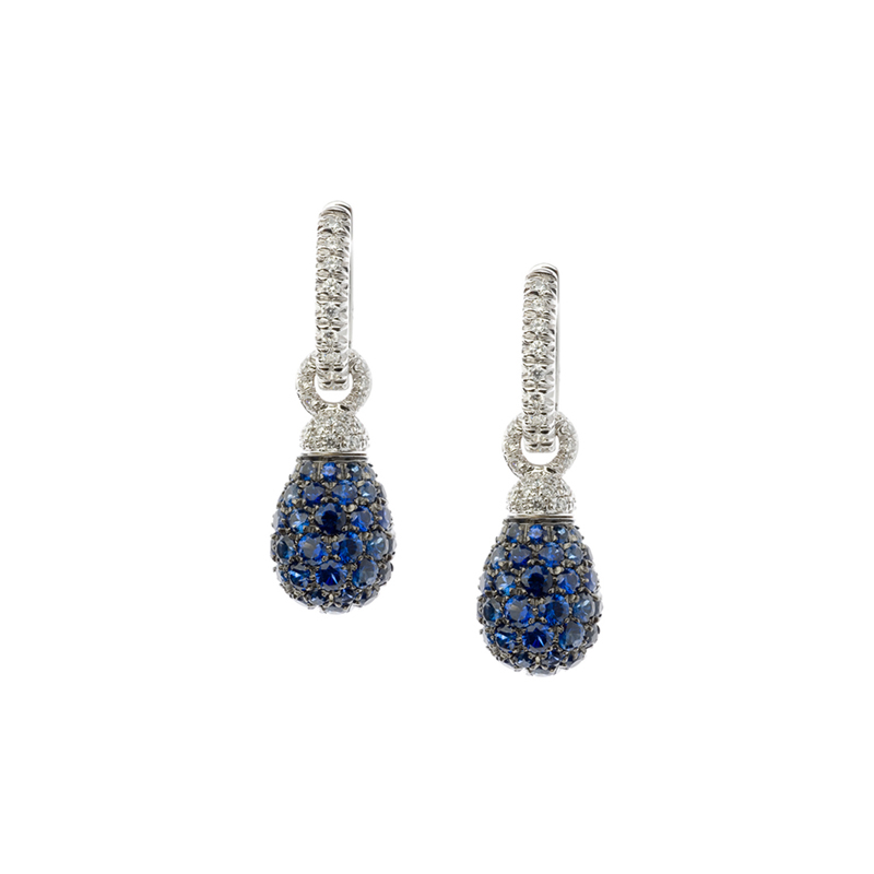 Short arrings in white gold, diamonds and blue sapphires