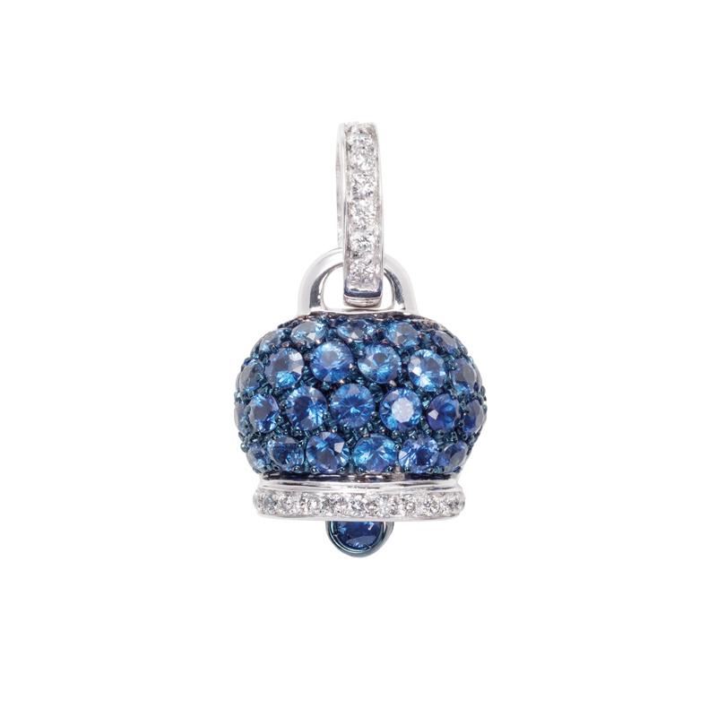Ciondolo medio in oro bianco, diamanti e zaffiri blu