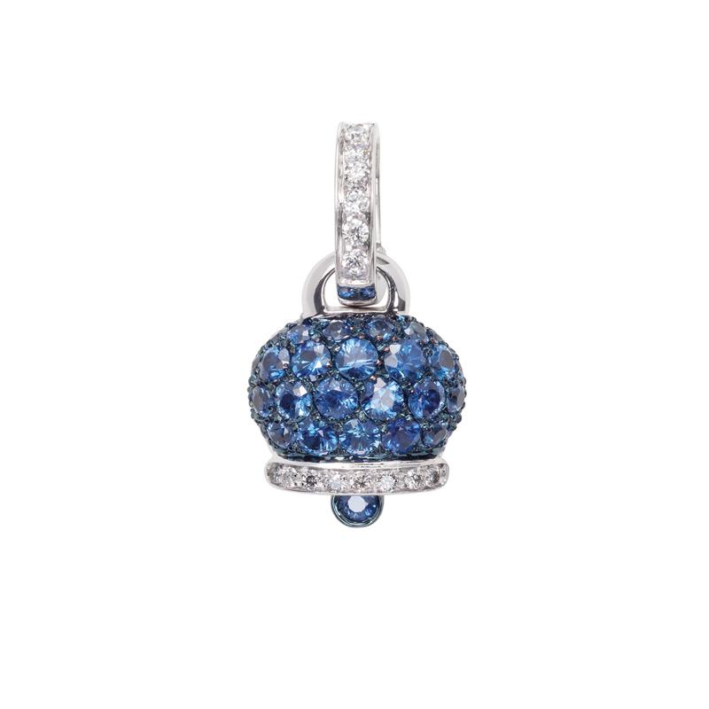 Ciondolo piccolo in oro bianco, diamanti e zaffiri blu