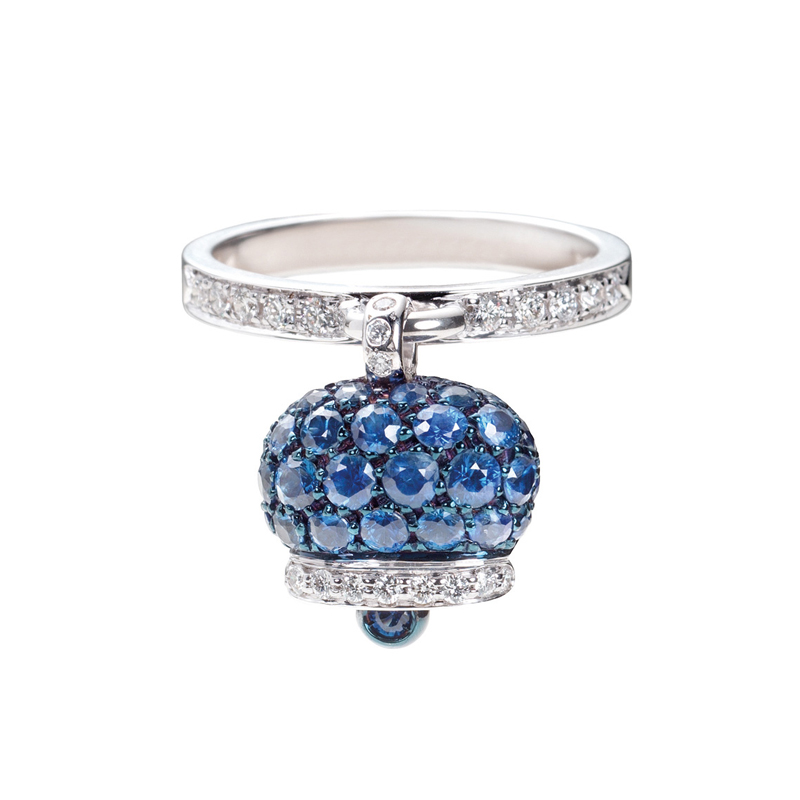 Ring in white gold, diamonds and blue sapphires