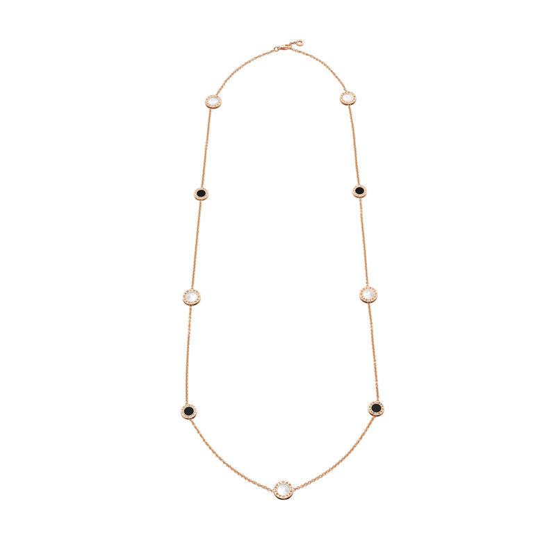 Necklace in pink gold, mother of pearl and onyx