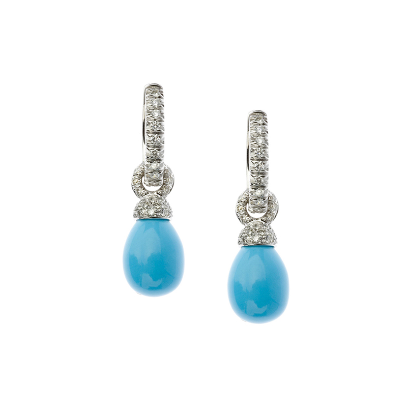 Short arrings in white gold, diamonds and turquoise