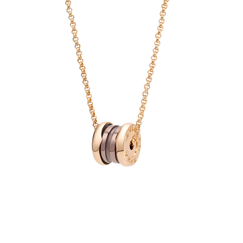 Necklace with pendant in rose gold and cermet