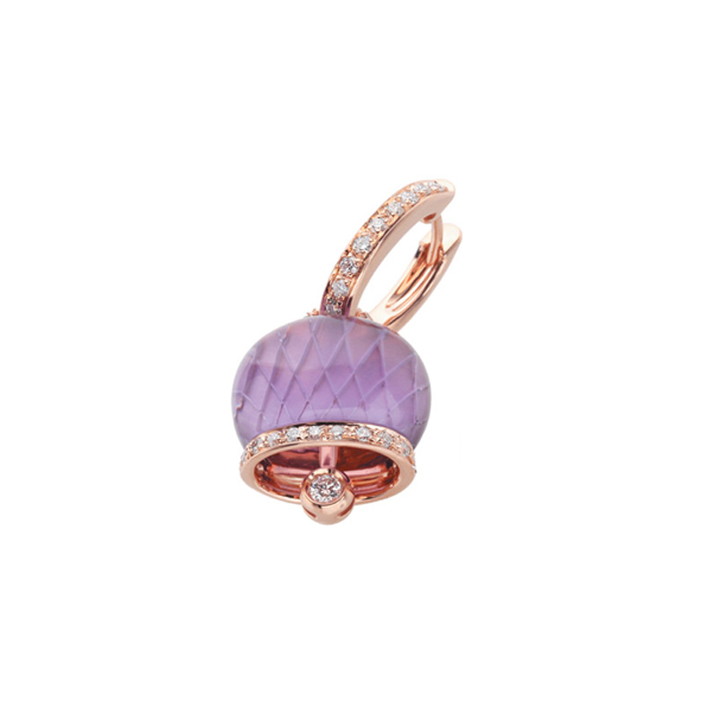 Medium earring in pink gold, diamonds and amethyst