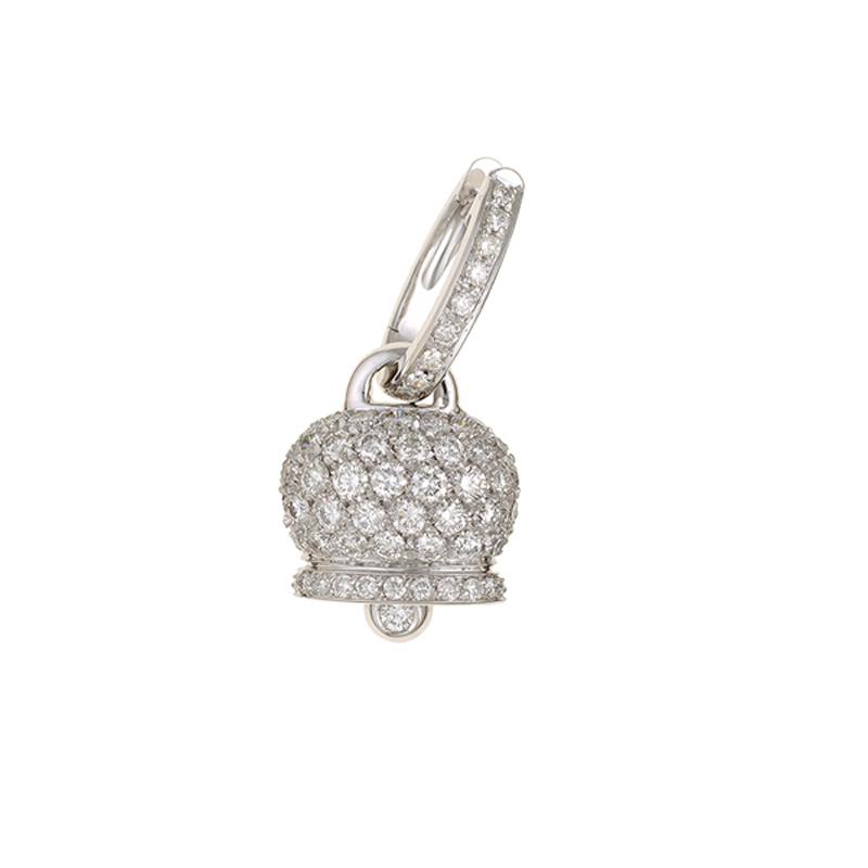 Orecchino medio in Oro Bianco con diamanti pavè