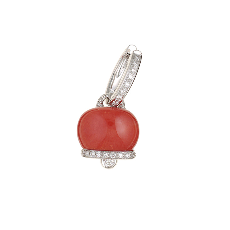 Medium earring in white gold, diamonds and red coral