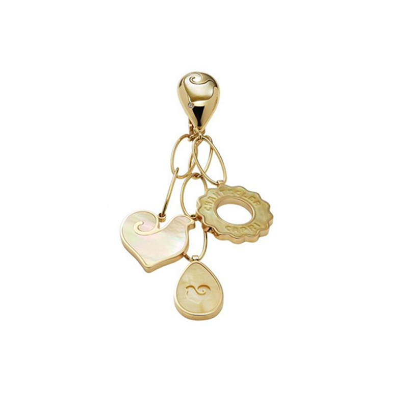 Three dangling symbols earrings in yellow gold, yellow mother-of-pearl and diamonds