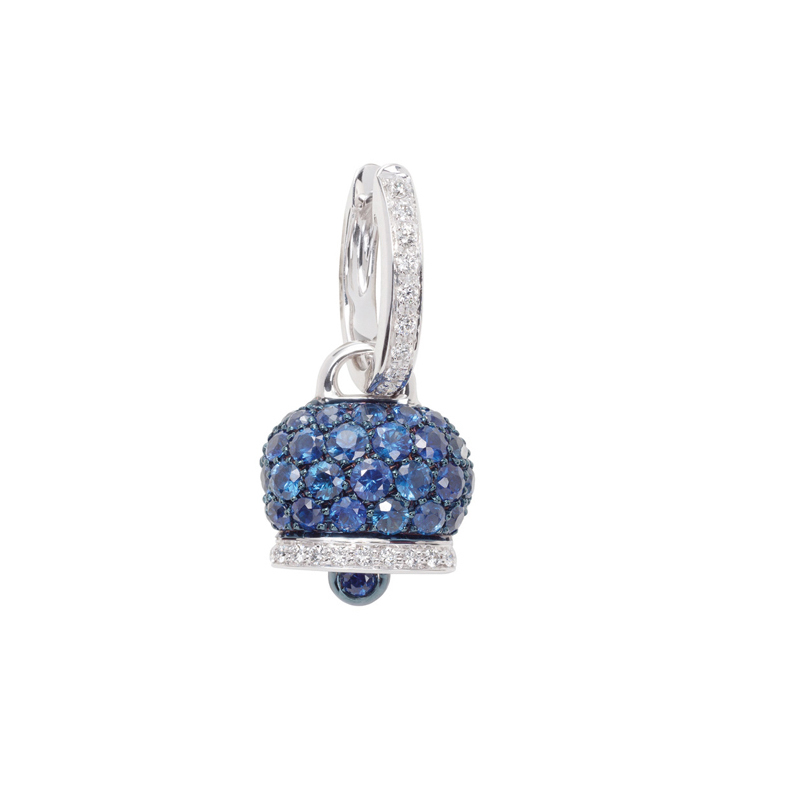 Medium earring in white gold, diamonds and blue sapphires