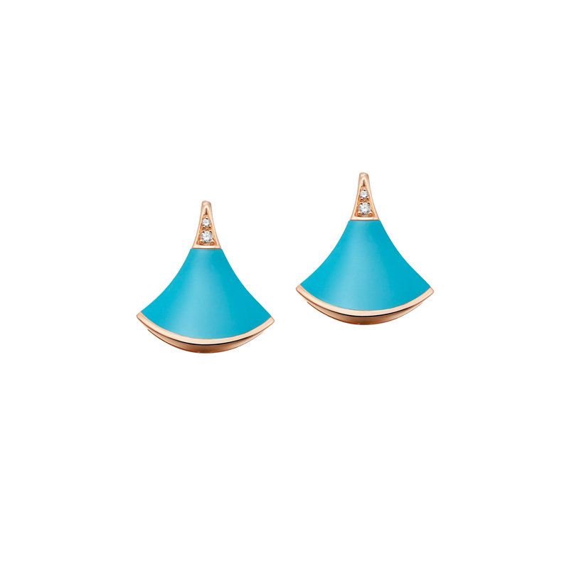 Earrings in rose gold with turquoise and diamonds
