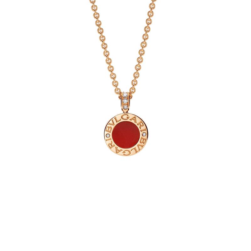 Collana in oro rosa con corniola, madreperla e diamanti