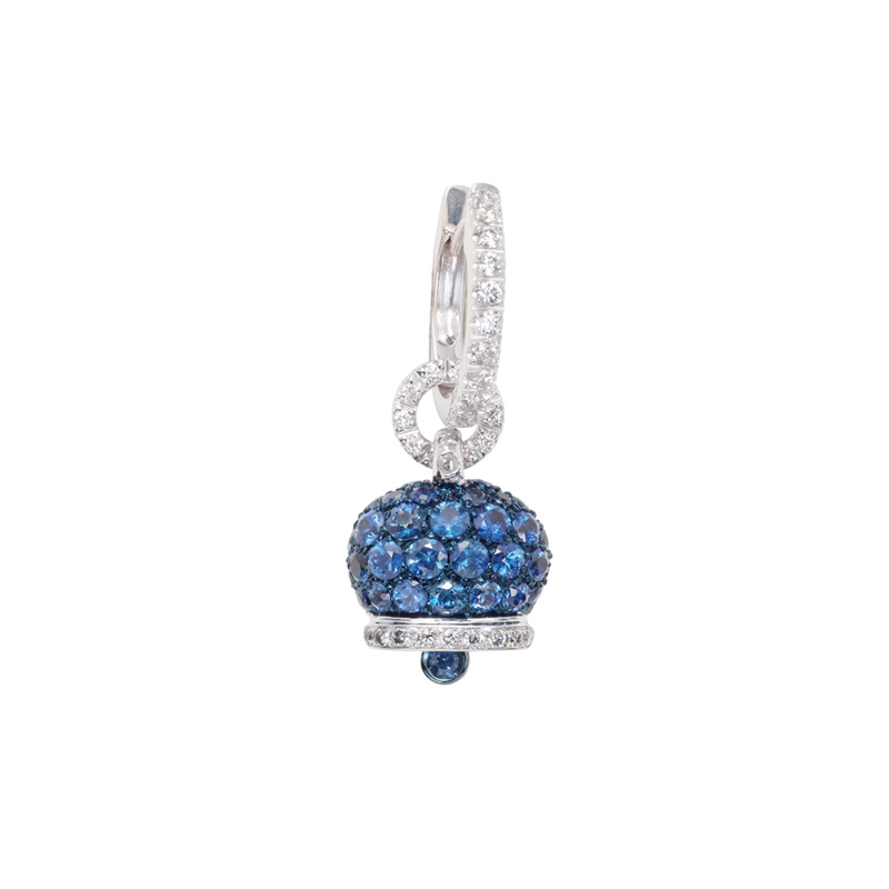 Small earrings in white gold, diamonds and blue sapphires
