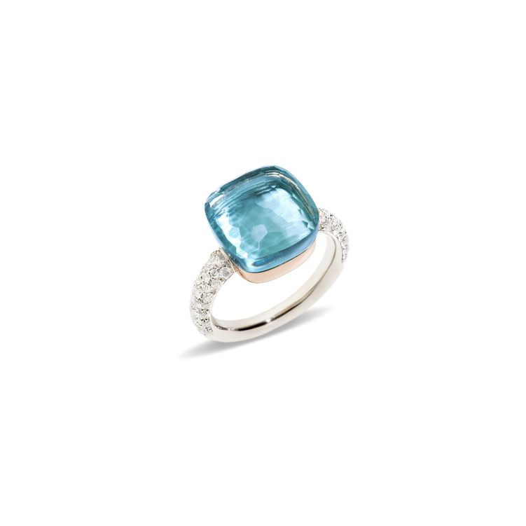 Ring in white and rose gold with blue topaz and diamonds