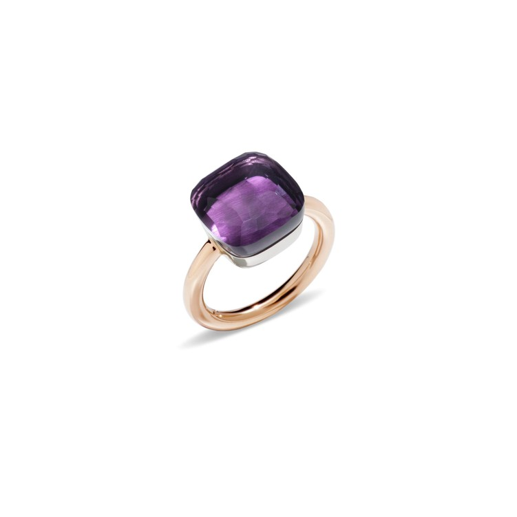 Maxi ring in rose and white gold with amethyst