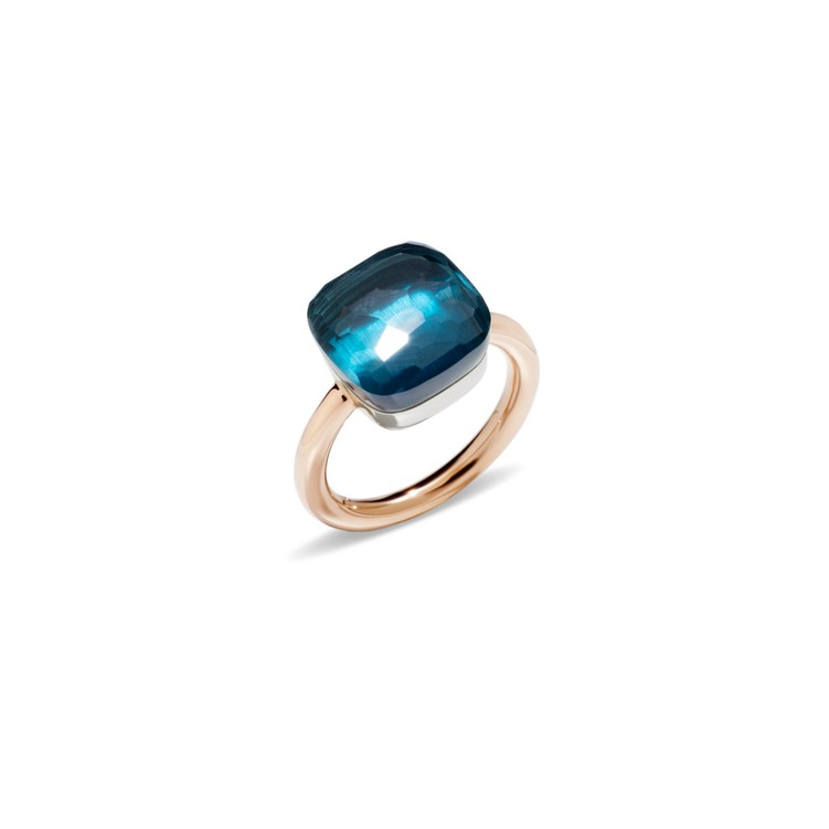 Maxi ring in rose and white gold with blue london topaz