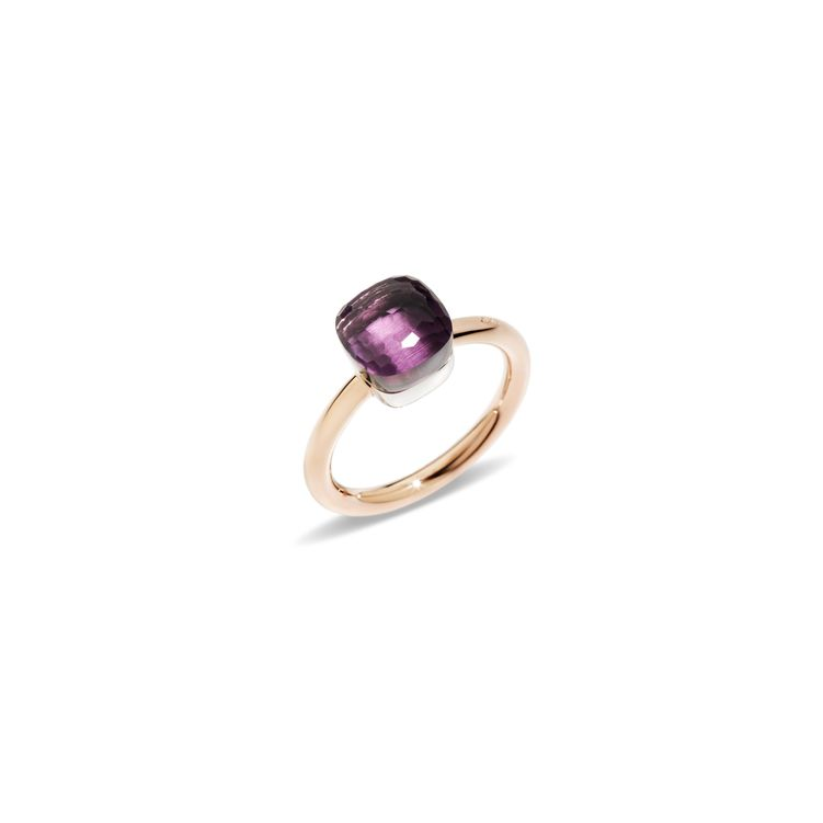 Petit ring in rose and white gold with amethyst