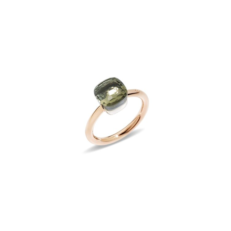 Petit ring in rose and white gold with prasiolite