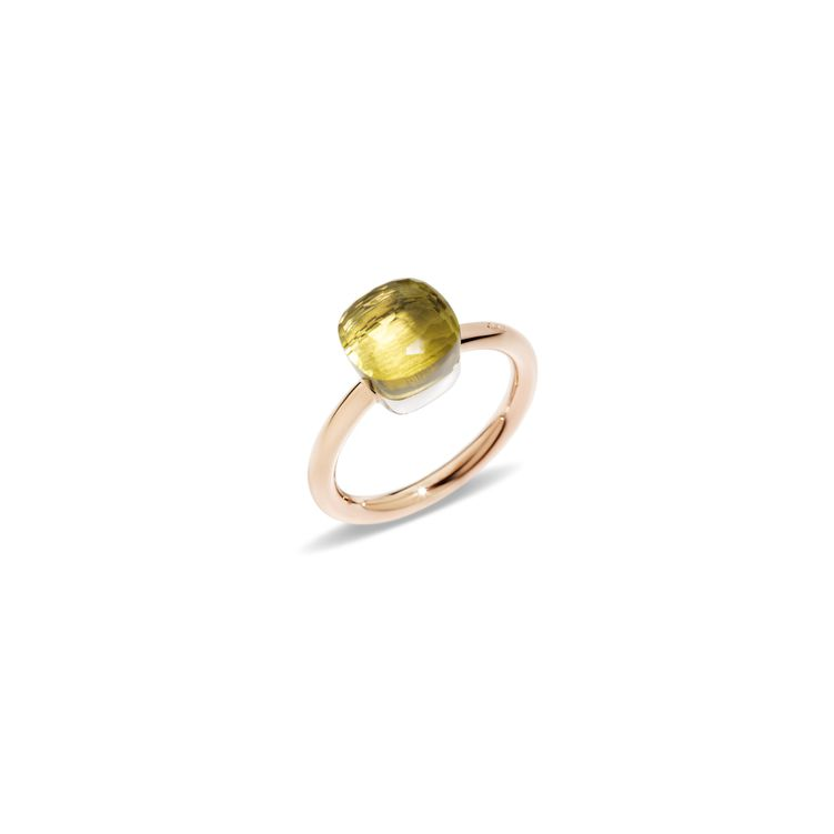 Petit ring in rose and white gold with lemon quartz