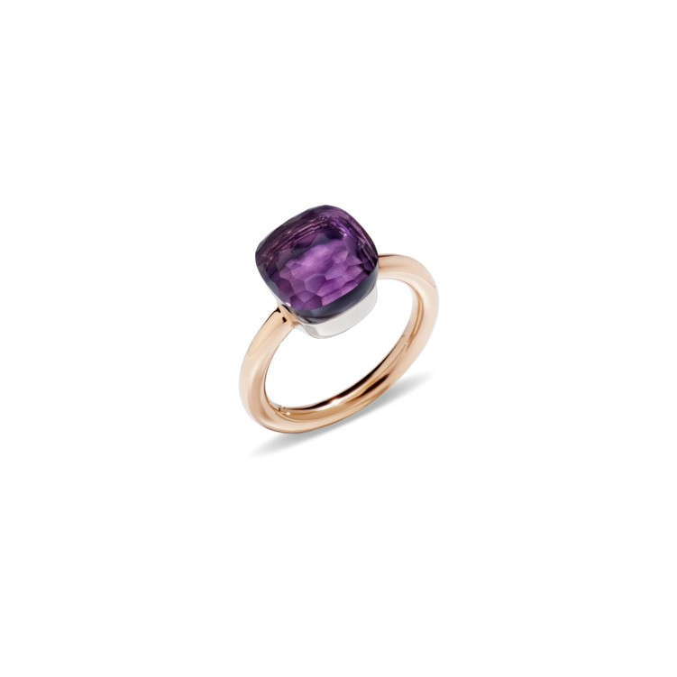 Ring in rose and white gold with amethyst