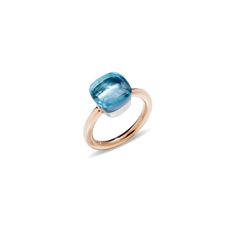 Ring in rose and white gold with blue topaz