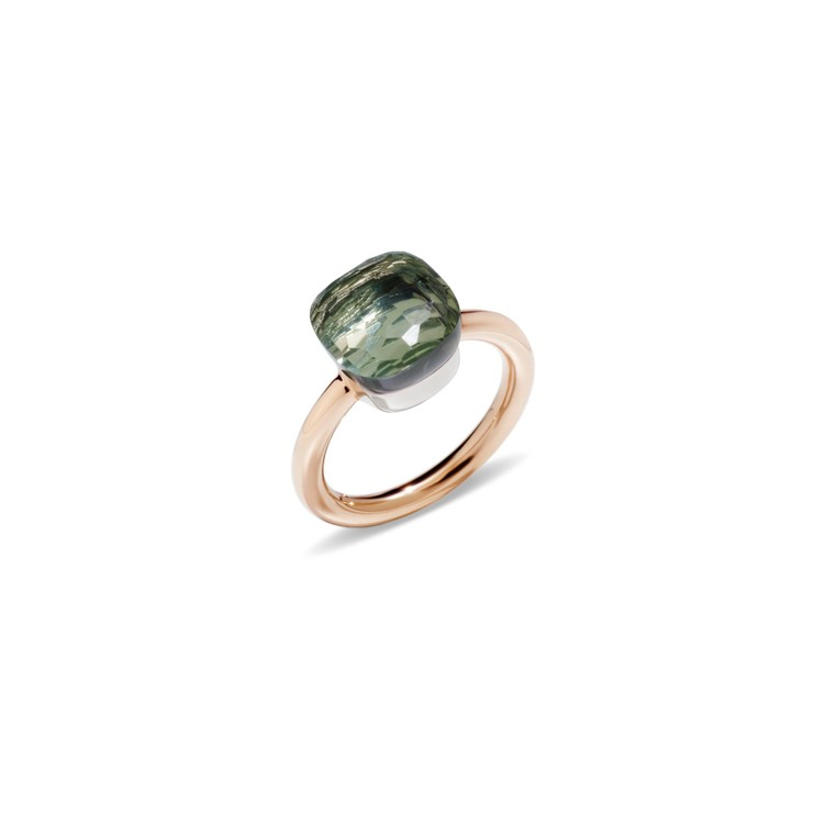 Ring in rose and white gold with prasiolite