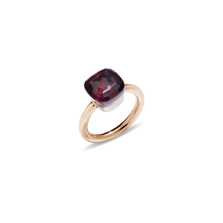 Ring in rose and white gold with garnet