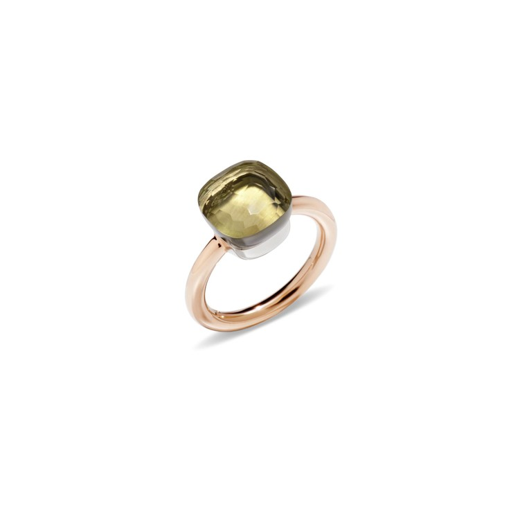 Ring in rose gold and white gold with lemon quartz
