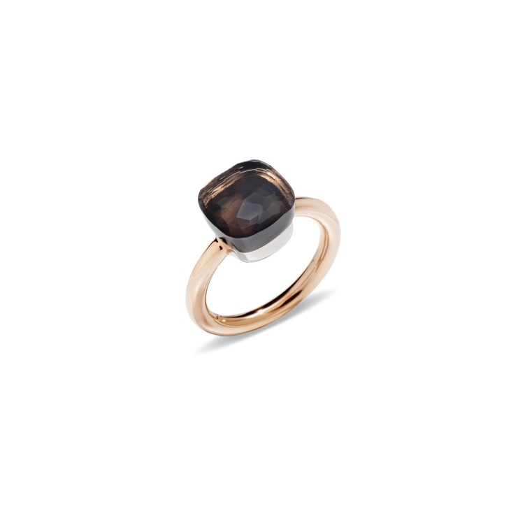 Ring in rose and white gold with qurtz