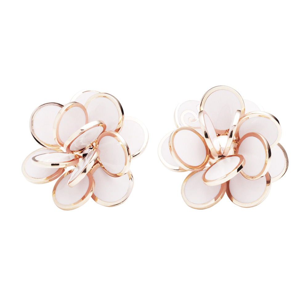 Gold earrings with pink and white enamel
