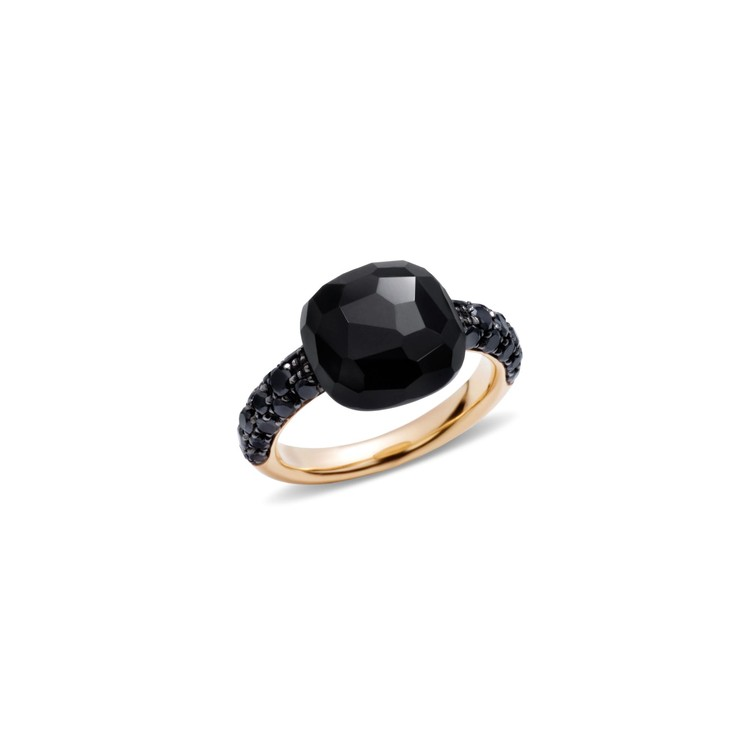 Anello in oro rosa, onice e billanti black