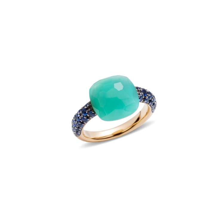 Rose gold ring with chrysoprase and blue sapphires