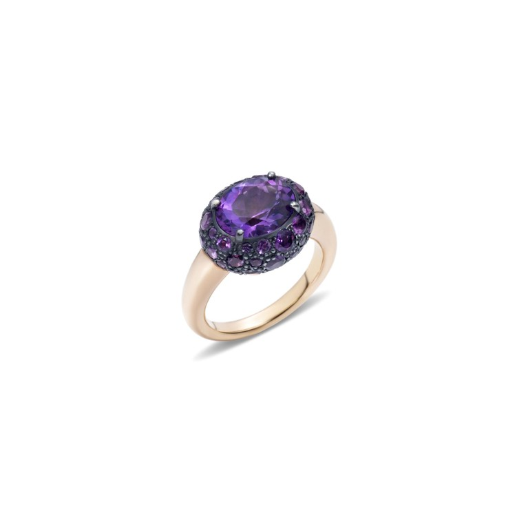 Ring in rose gold and silver with amethysts