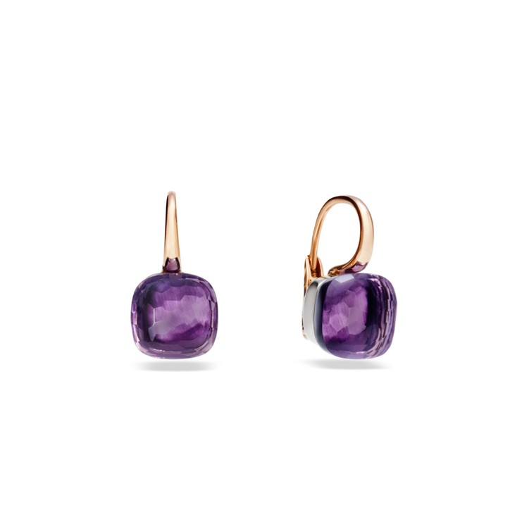Earrings in rose and white gold with amethyst