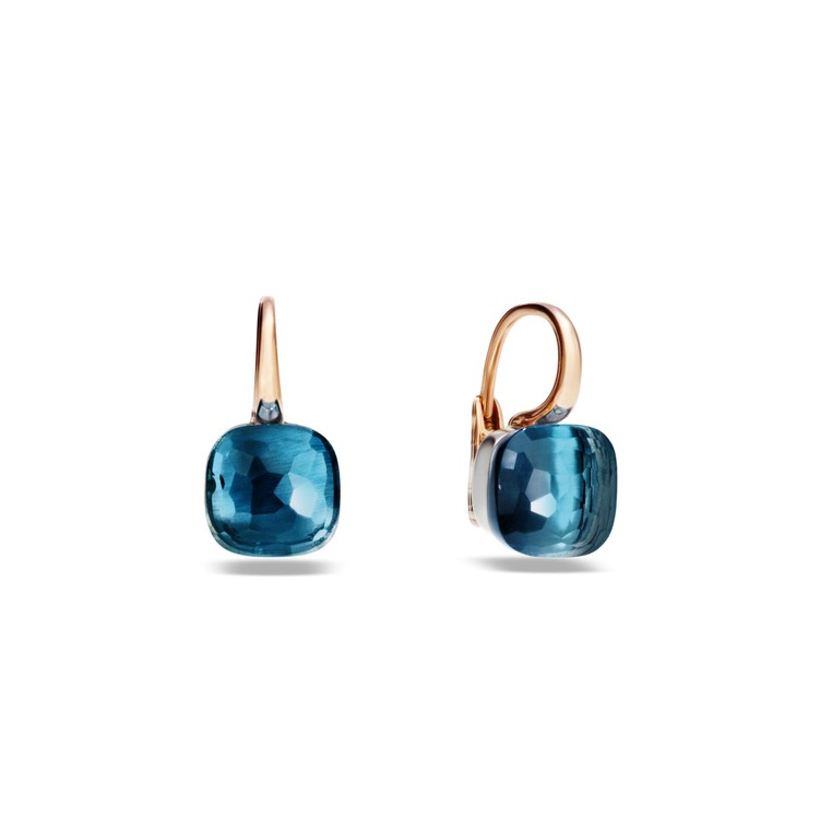 Earrings in rose and white gold with blue topaz