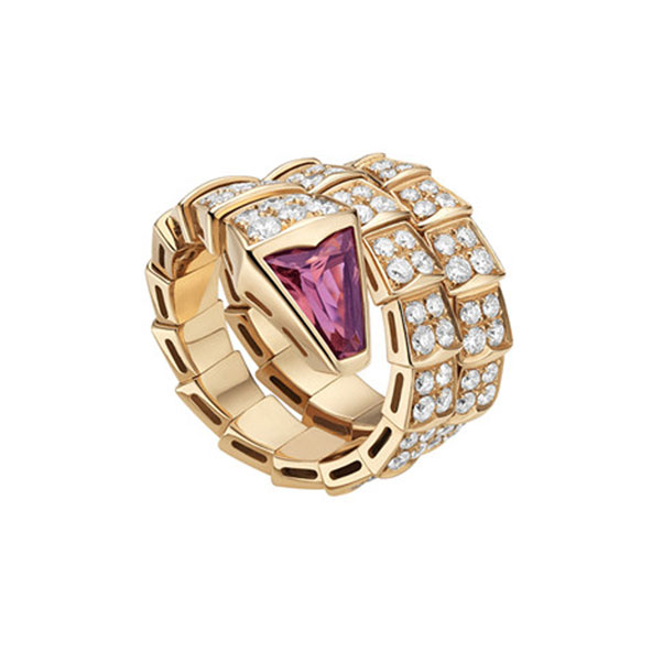 Pink Gold Ring with Rubellite and Diamonds