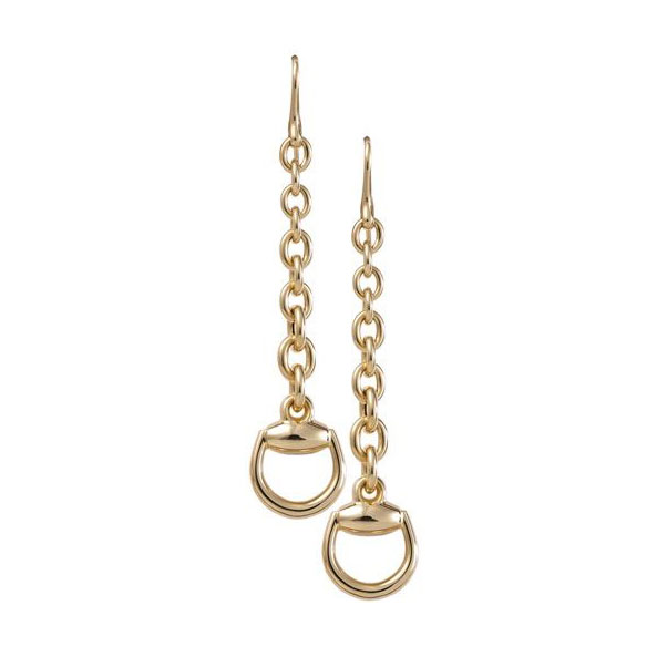 Earrings with pendant in yellow gold