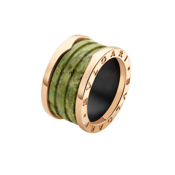 4-Band Pink Gold Ring with Green Marble