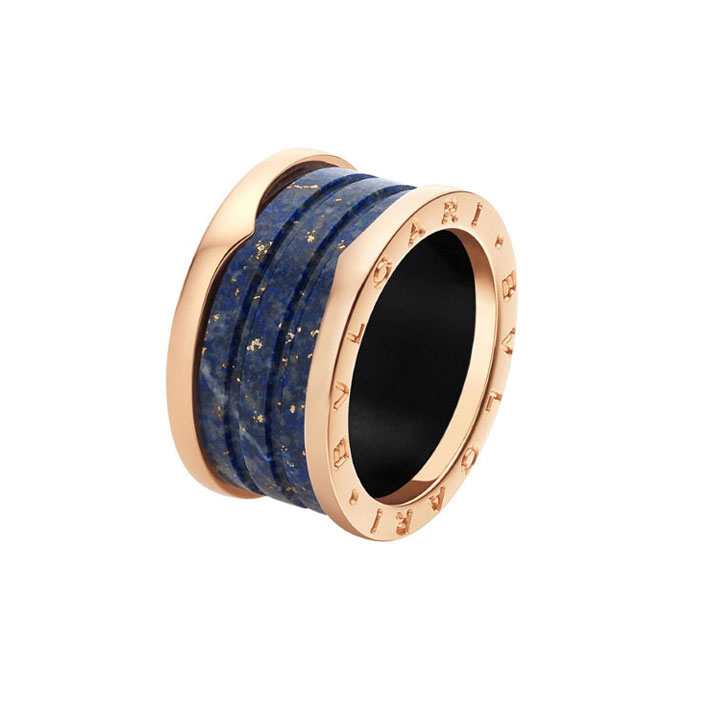 4-Band Pink Gold Ring with Blue Marble