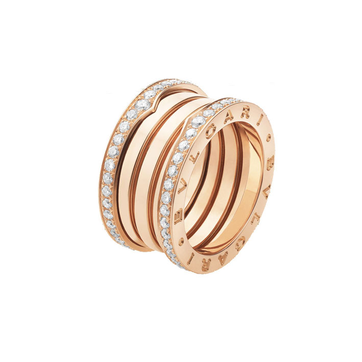 4-Band Pink Gold Ring with Diamonds on edges