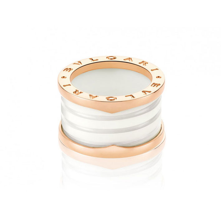 4-Band Pink Gold Ring with White Ceramic