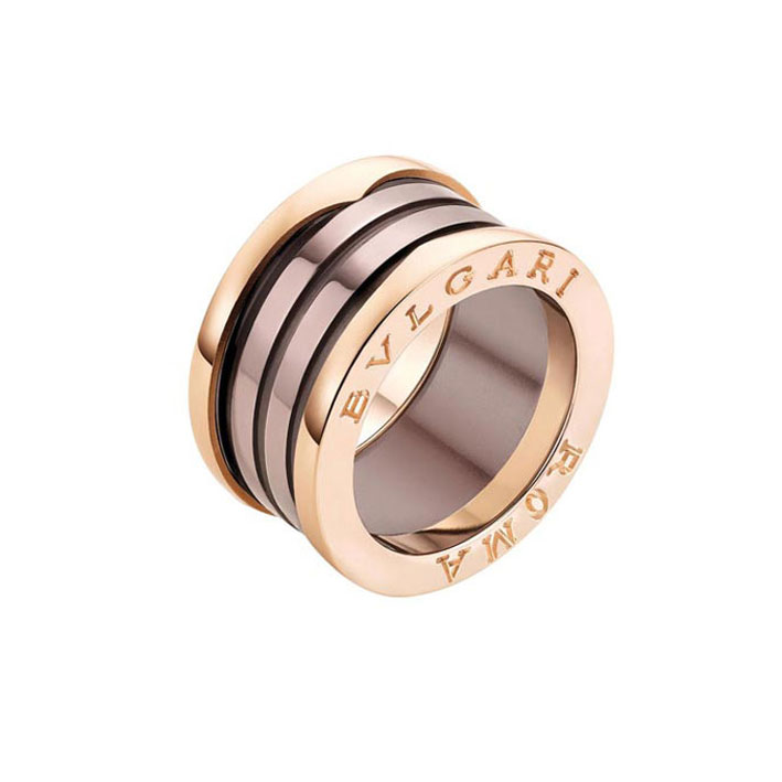 4-Band Pink Gold Ring with Bronze Ceramic